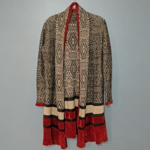 Hannah Red Tan Oversized Open Front Cardigan M
